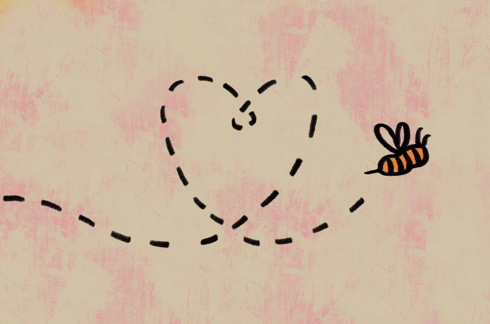 a bee flying with a yellow and pink background