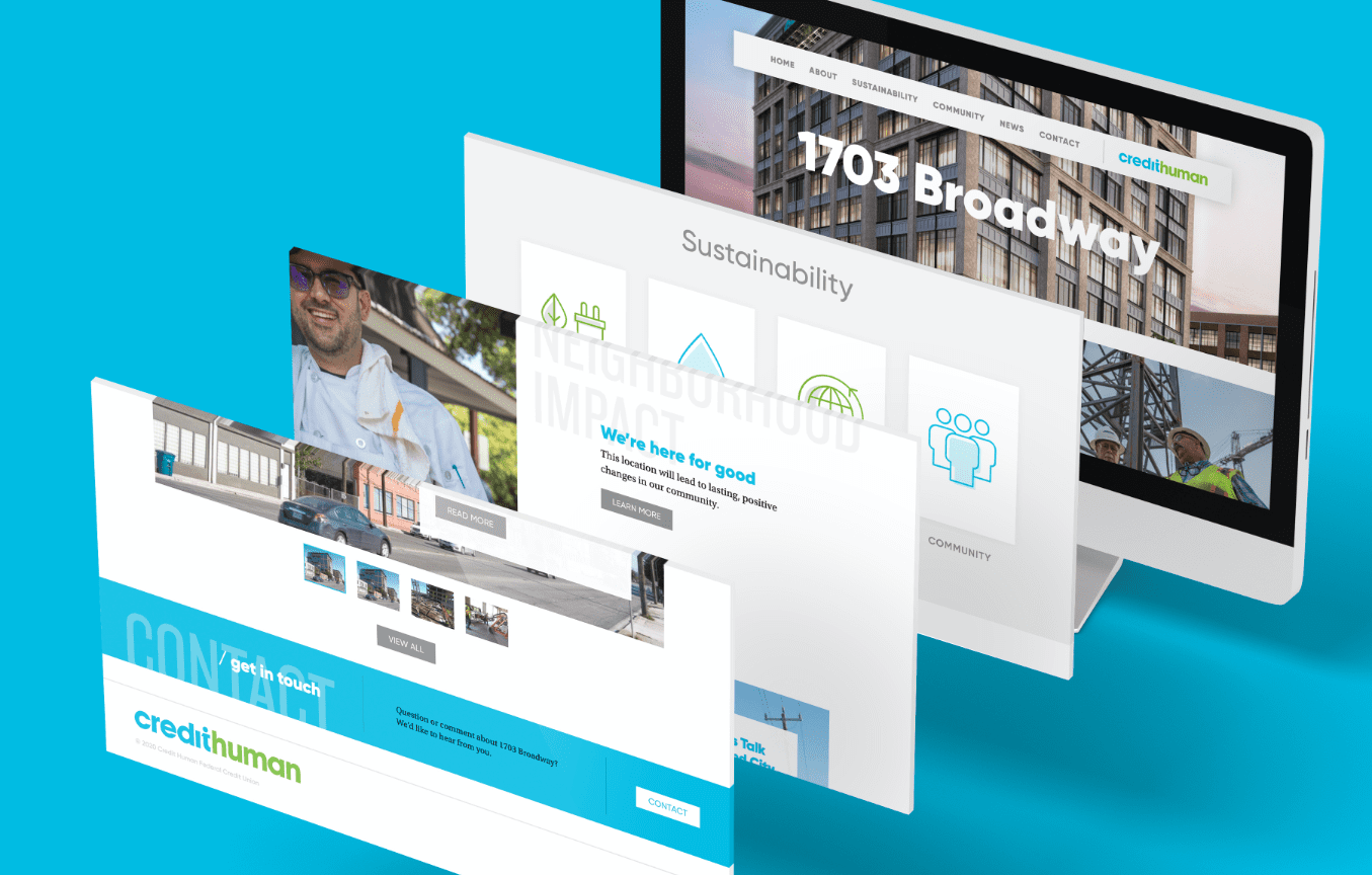 grid of website design for the 1703 broadway sustainable building built by credit human in san antonio texas