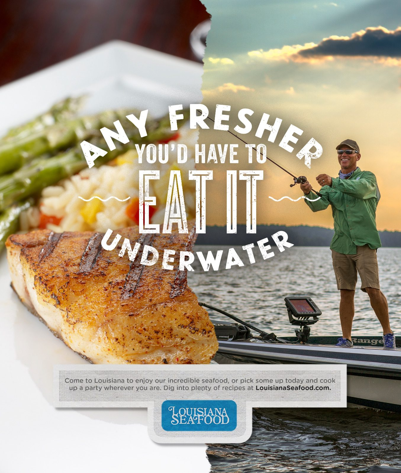 ad for louisiana seafood featuring half of ad with man fishing and other half of ad with fish on dinner plate