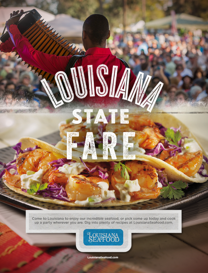 ad for louisiana seafood featuring half of ad with man playing accordion and other half of ad featuring tacos on plate