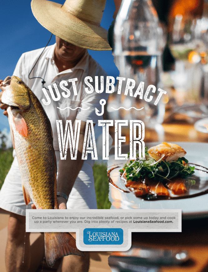 ad for louisiana seafood featuring half of ad with man holding fish and other half of ad with fish on dinner plate