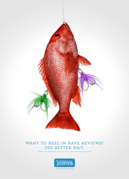 ad featuring red fish caught on fishing line and with fish hooks