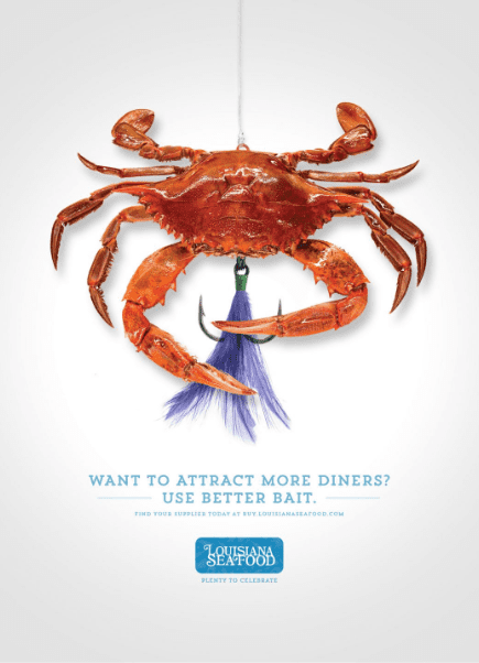 ad featuring crab caught on fishing line and with fish hooks