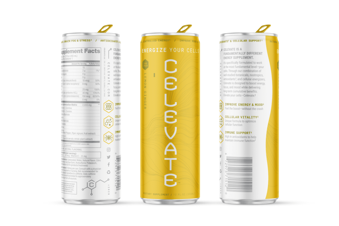 yellow can render of lemon ginger flavor celevate