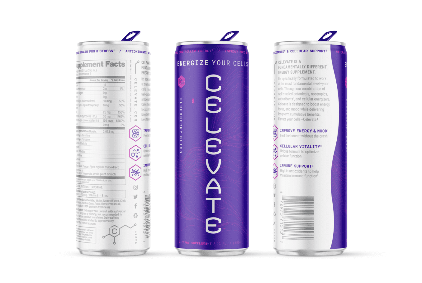 purple can render of elderberry bliss flavor celevate