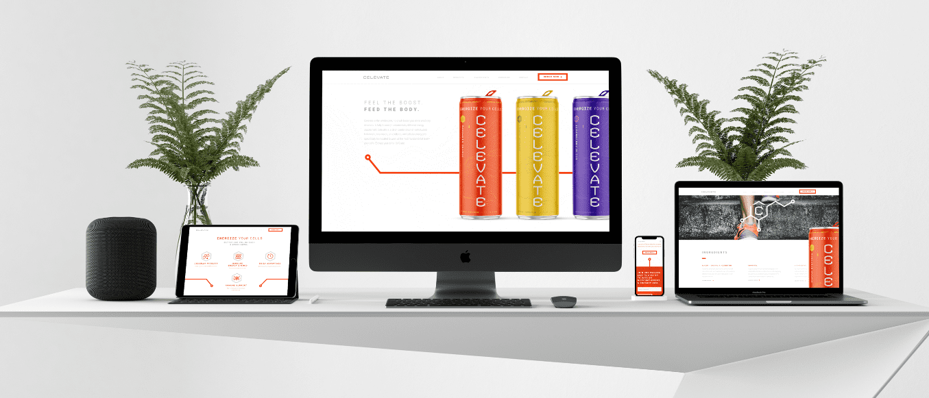 celevate website design and development visual layout on desktop, laptop, mobile, and tablet