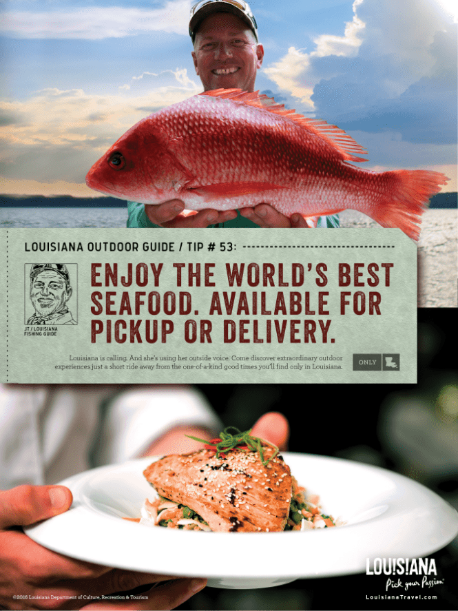 split image ad of an fisher holding up a fish in the top image and a chef holding plate with cooked fish