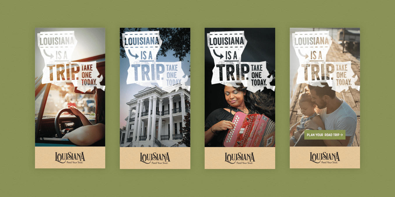 grid of ads for tourism to louisiana