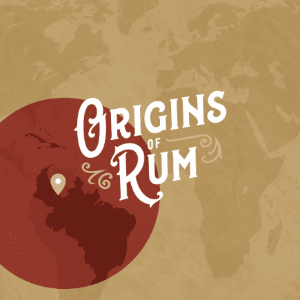 graphic of world and type reading origins of rum