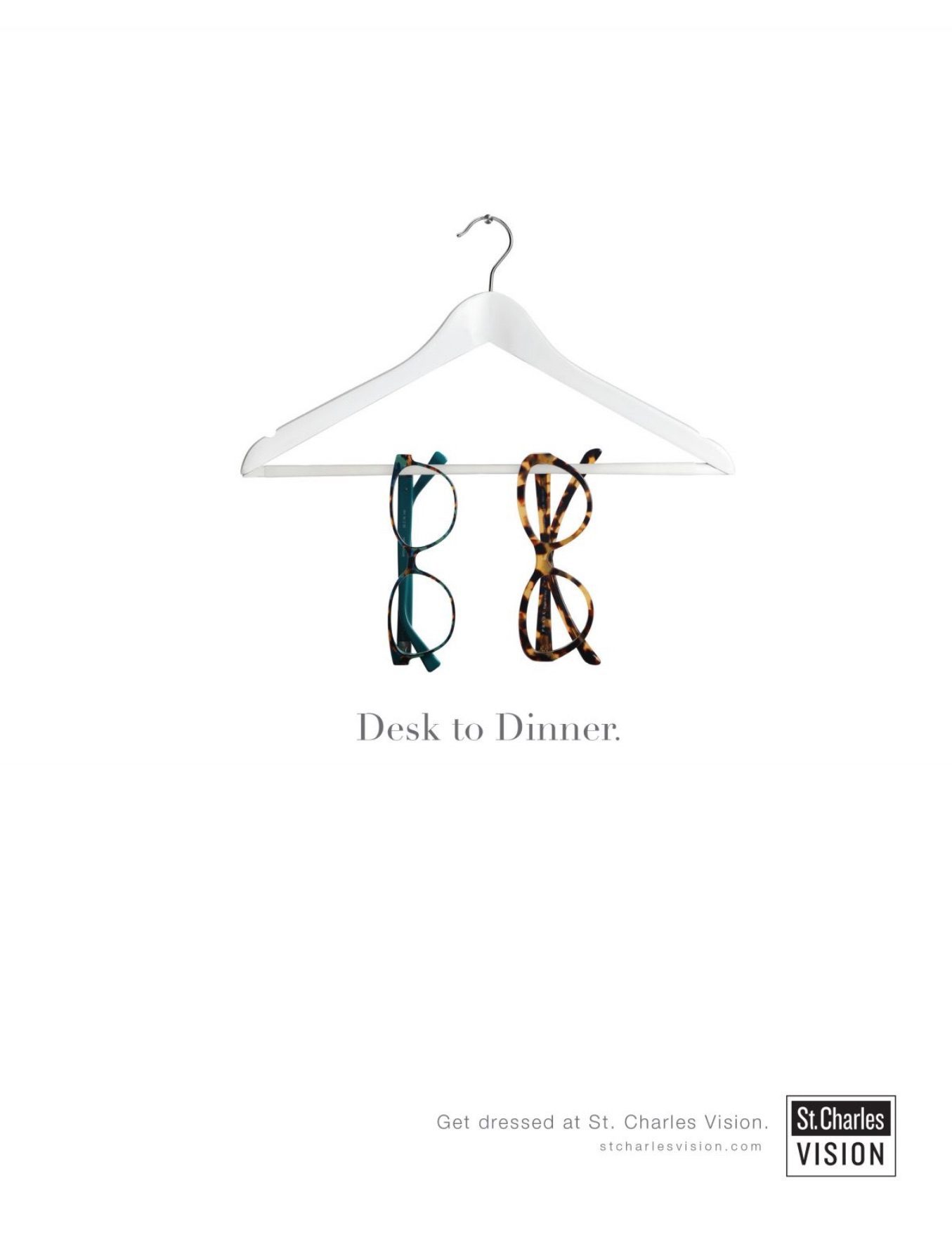 ad for eye glasses which depicts two pairs of eye glasses hung on a hanger against a white background