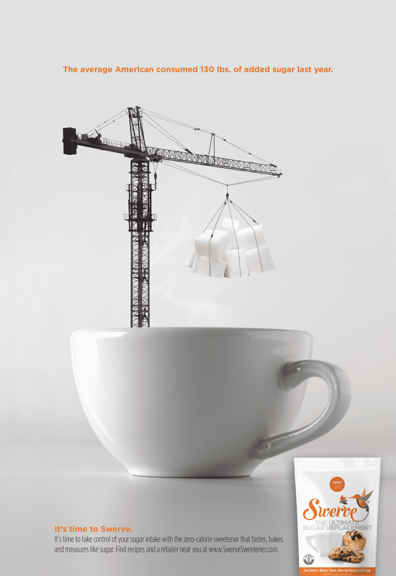 ad for swerve sweetener of a crane dropping sugar into cup