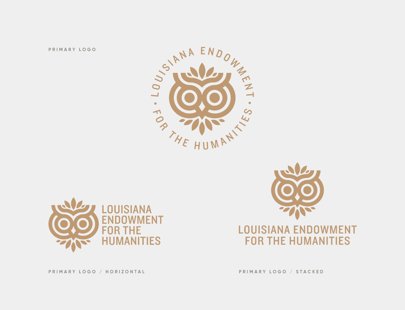 logo grouping of the gold logos for louisiana endowment of humanities