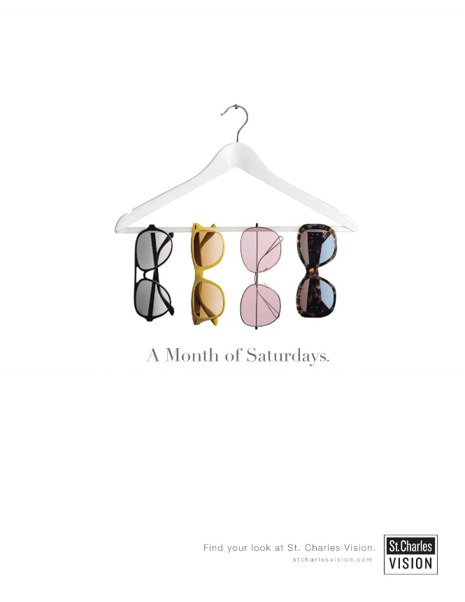 ad for eye glasses which depicts four pairs of eye glasses hung on a hanger against a white background