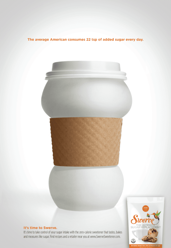 ad for swerve sweetener of cup bulging