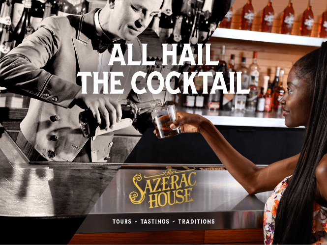 sazerac house ad featuring a half color and half black and white image of a bartender pouring rye to a woman