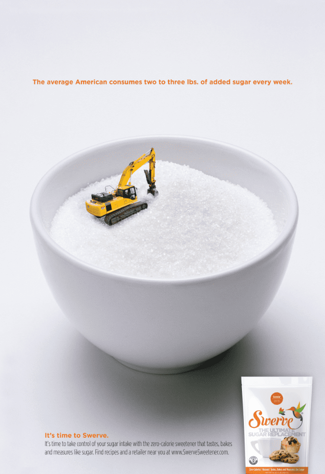 ad for swerve sweetener of cup of sugar with construction equiptment