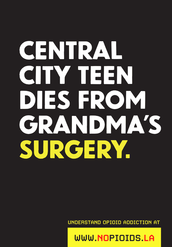 poster with type on black background reading central city teen dies from grandma's surgery