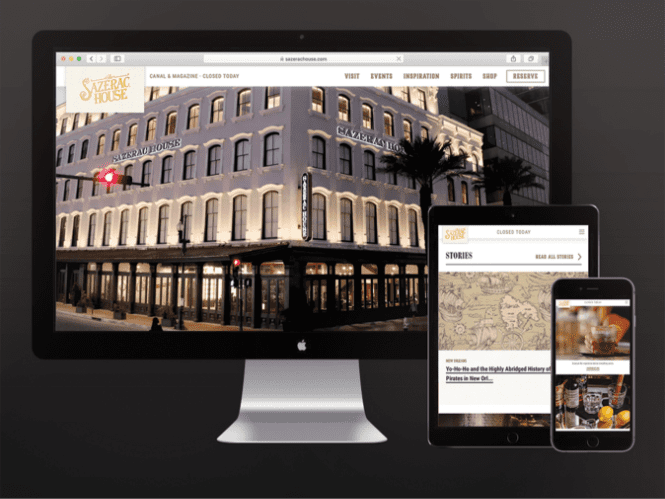 mockup of the sazerac house website on a desktop, tablet, and mobile device