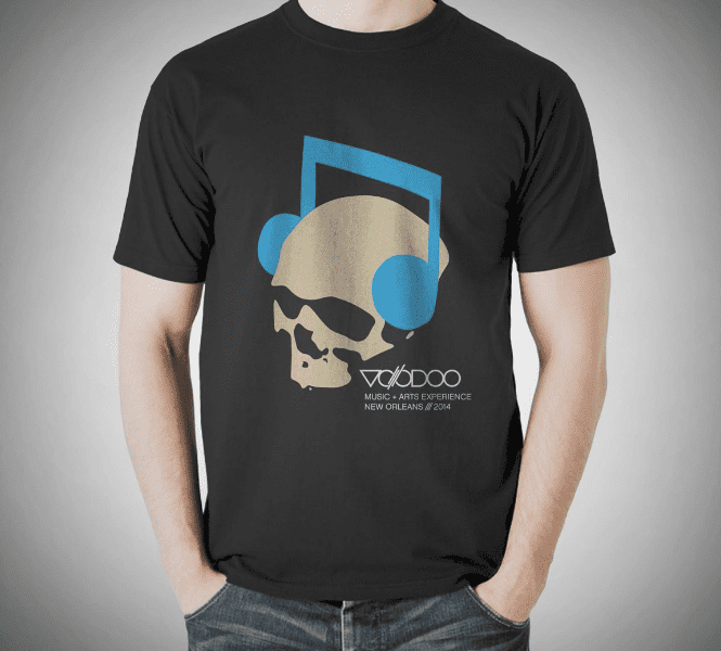 body featuring merch of skeleton with headphones on for voodoo music festival