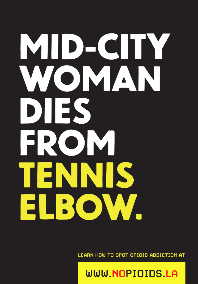 poster with type on black background reading mid-city woman dies from tennis elbow