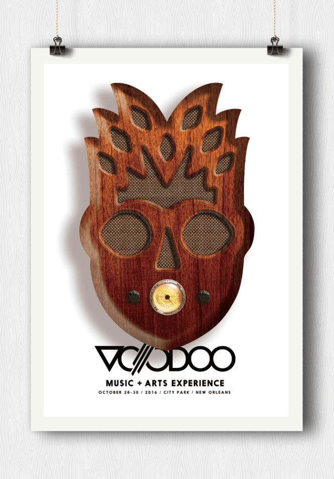 voodoo music festival posters displayed with clips