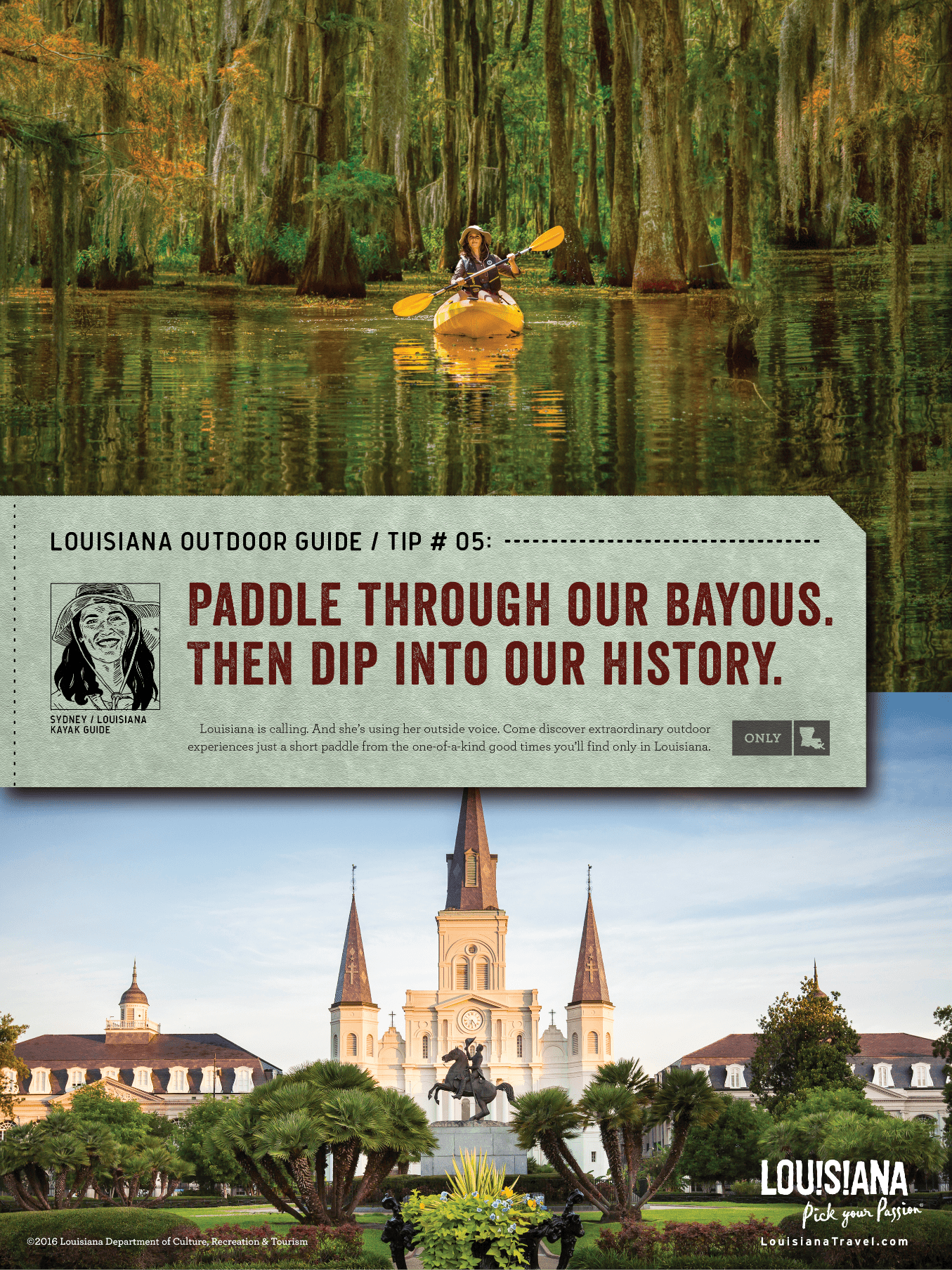 a split image ad of a woman kayaking through city park in new orleans on the top image and a photo of a building in the bottom image