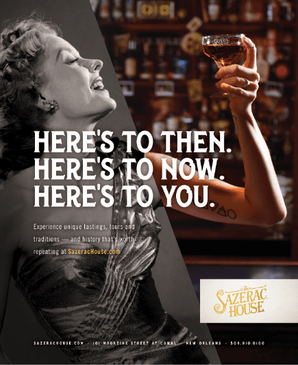 sazerac house ad featuring a half color and half black and white image of a woman holding up a glass of sazerac rye