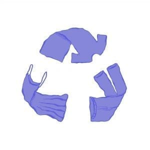 A recycle symbol made of purple clothes