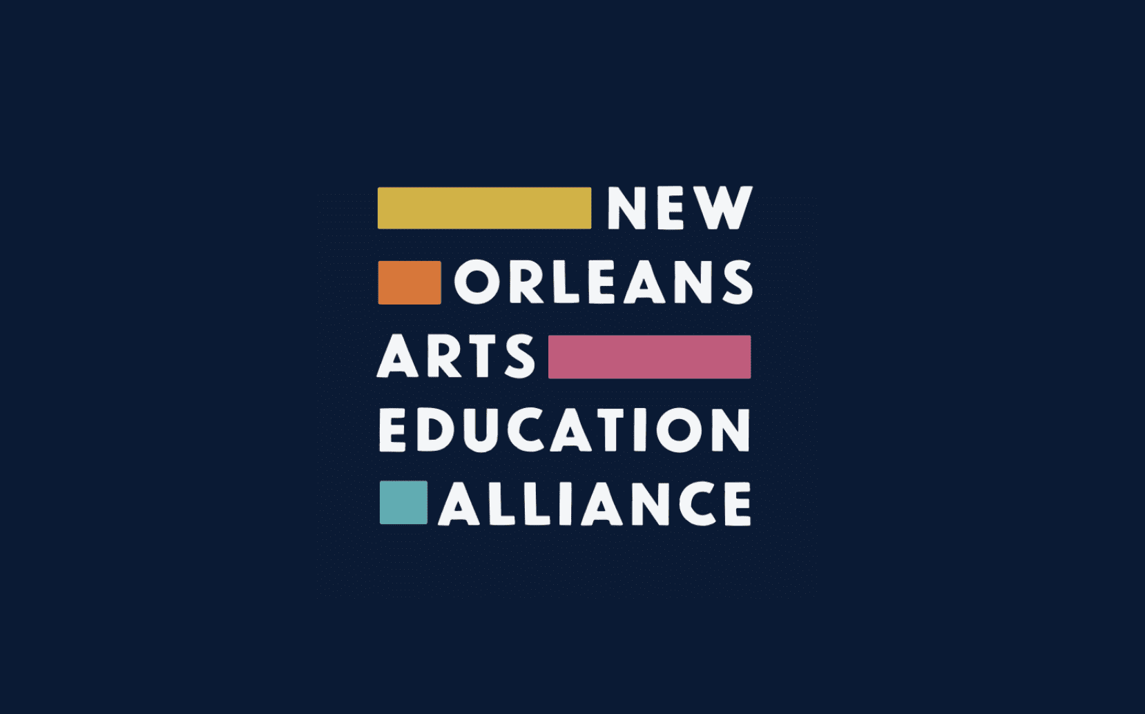 New Orleans Arts Education Alliance blue yellow orange and pink logo