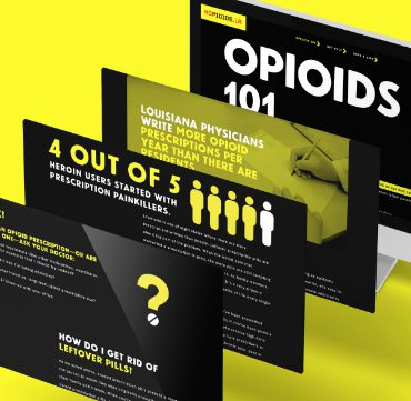 mock up spread of nopioids website design